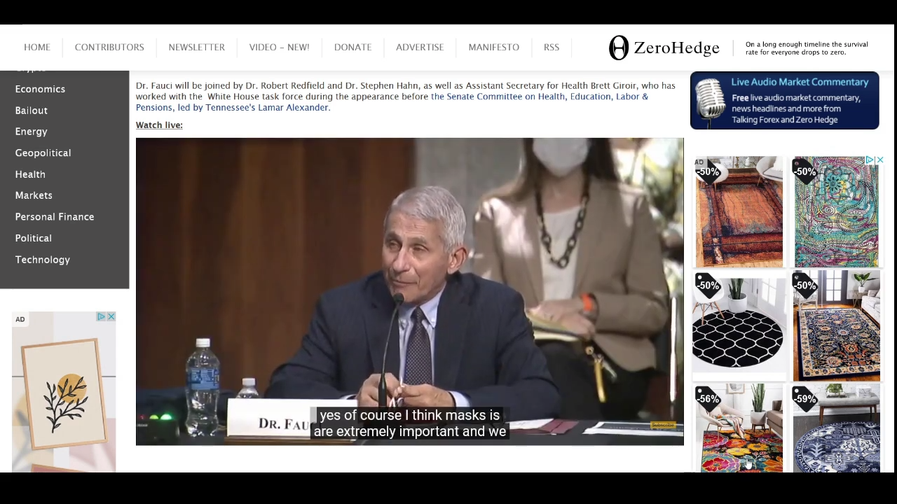 Dr Fauci: Masks are … Silly Urgent… or Urgent Silly? 30-6-2020