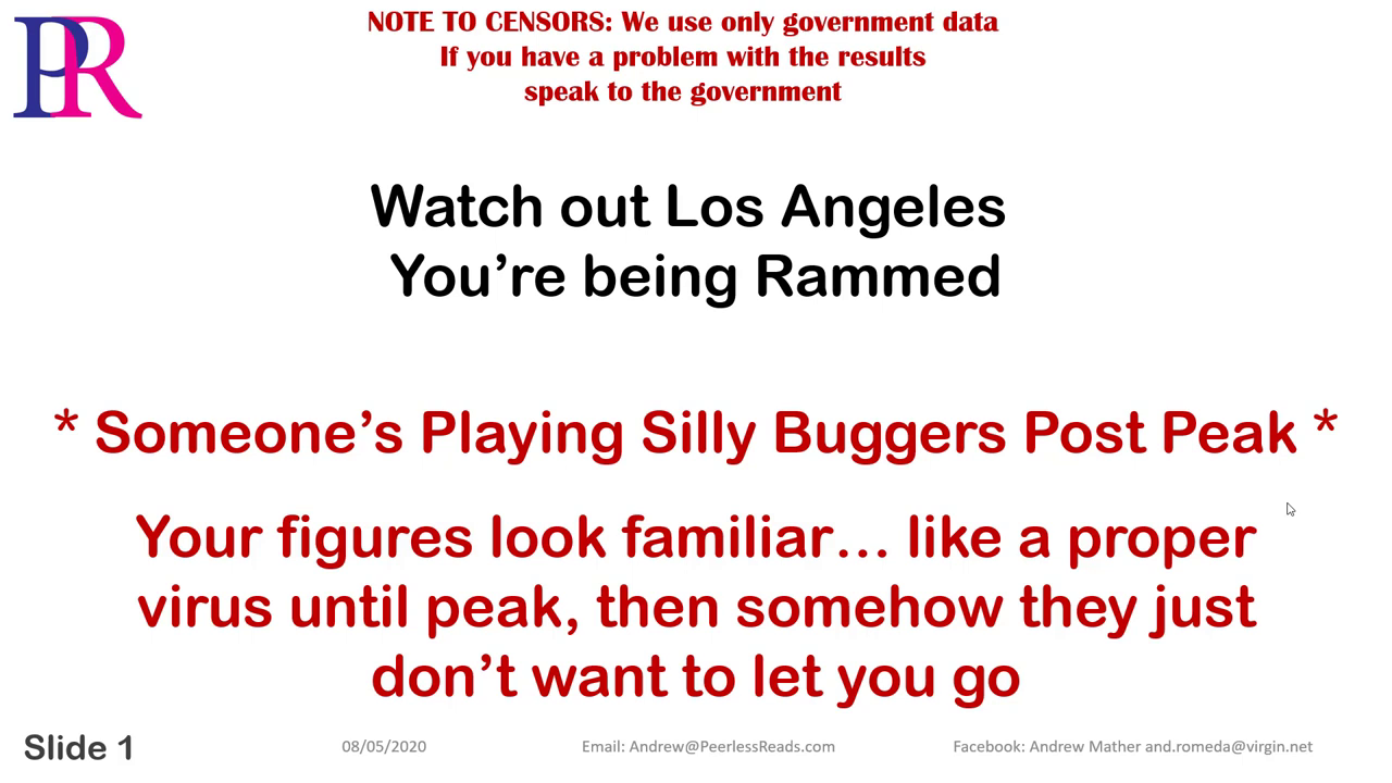 Peerles Reads Covid 19 – Los Angeles LA Ram'd – Your're being played