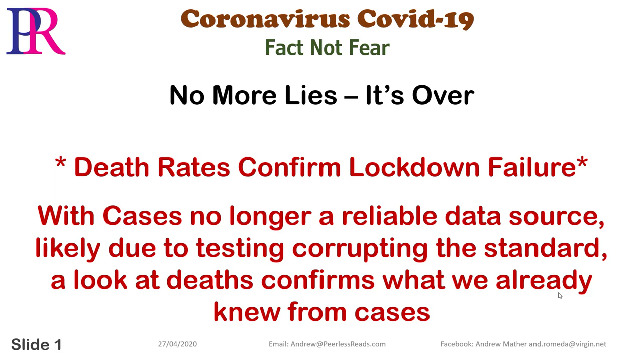 Peerless Reads Coronavirus UK Cases and Deaths – No More Lies – It's Over