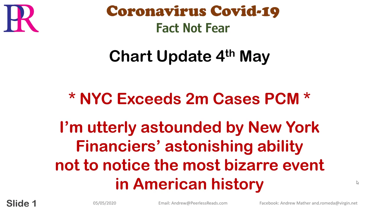 Peerless Reads Covid-19 Chart Update 200504a – New York Exceeds 2 million cases PCMP