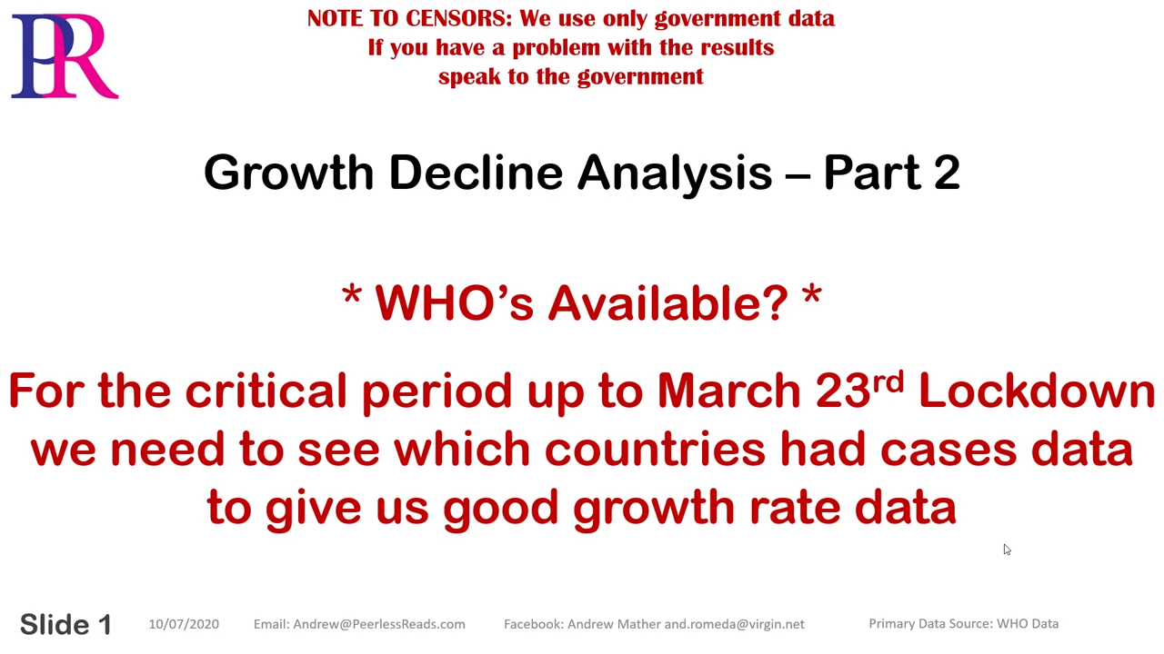 Covid-19 Growth Analysis – Part 2 – What Did Ferguson See? 10-7-2020