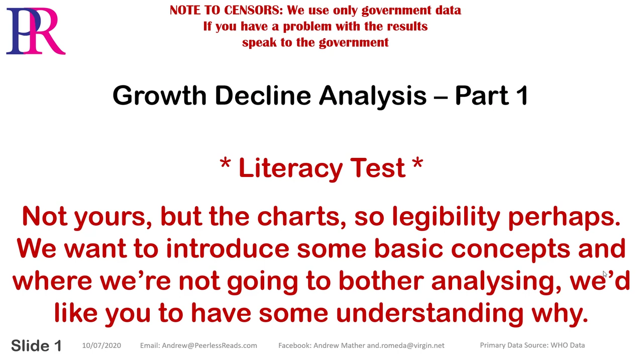 Covid 19 – Growth Analysis Part 1 – Introducing And Categorising The Charts 10-7-2020