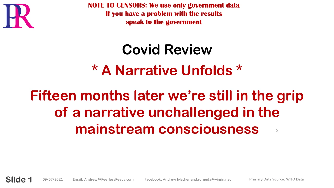 Covid 19 – Review – A Narrative Unfolds 9-7-2021