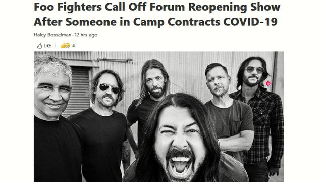 Foo Fighters Catch Covid After Concert Requiring Everyone to be Jabbed 15-7-2021