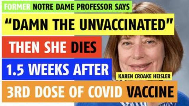 Karma – Professor says damn the unvaccinated. Dies 12 days after her third shot 28-9-2021