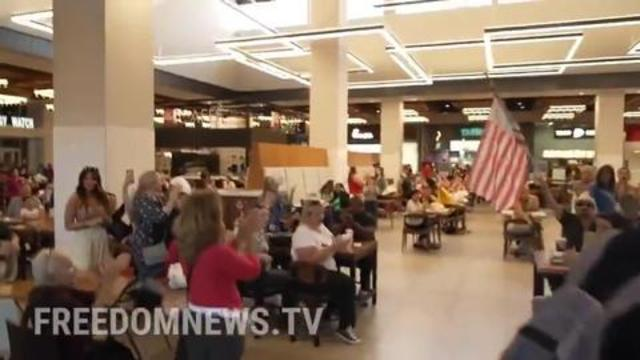 """Patriots Defy Vax-Pass & Unite The Food Court With America's Most Popular Song: """"LET'S GO BRANDON"""" 18-10-2021"""